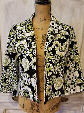 BOB MACKIE LADIES BUTTONLESS JACKET SIZE LARGE FLORAL GREEN BLACK WHITE BUSINESS