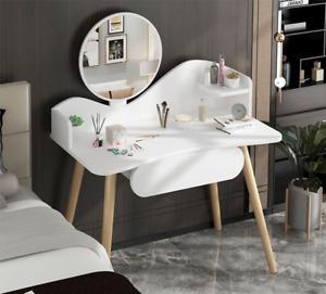 Corner Dressing Table Bedroom Makeup Desk W/Mirror & Drawers White New
