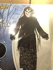 Doom Skeleton Robe Mask Gloves Belt Child Size Med 8-10 Light Up Mask