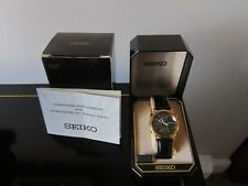 SEIKO WATCH, ANALOG, WATER RESISTENT, BLACK FACE, BLACK LEATHER STRAP
