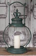 Rustic Primitive Large Crown Candle Holder Lantern Hurricane Glass Antique Green