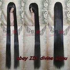 Wigs,noir long Raide perruque 150cm + chapeau libre de perruque