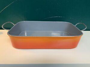 DESCOWARE VINTAGE LARGE CAST IRON ROASTING PAN W/SWING HANDLES #40 BELGIUM