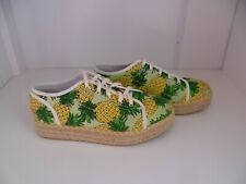 LA REDOUTE Pineapple Print Chunky Lace Up Canvas Espadrille Shoes UK 6.5*