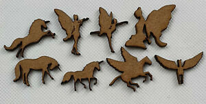 Card making UNICORN & FAIRIES shapes laser cut mdf hobby craft 16 pack, 30mm