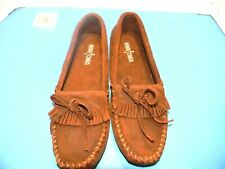 "Women's  Minnetonka ""Kilty Driver"" Leather Moccasins Color Brown Size 9 M"
