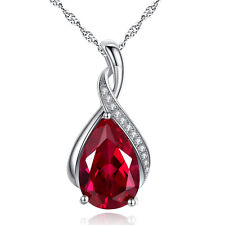 "3.15 Ct Created Red Ruby Gemstone 18"" Pendant Necklace 925 Sterling Silver Chain"