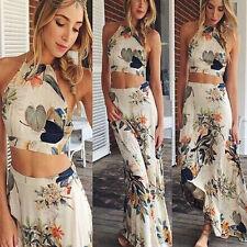 2015 Women Summer Boho Halterneck Long Maxi Evening Party Dress Beach Dress Pop