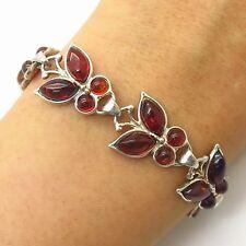 """Vtg 925 Sterling Silver Real Amber Gem Butterfly Design Link Bracelet 7 1/4"""""""