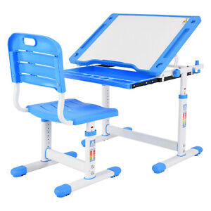 Height Adjustable Study Desk And Chair Set Pull Out Drawer With Tilted Desktop E