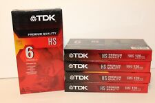 (LOT OF 5) TDK Premium Quality HS 6 Hours T-120 Blank VHS Tapes New and Sealed