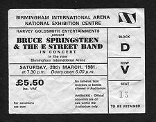 Bruce Springsteen 1981 The River Tour Concert Ticket Stub Birmingham UK
