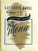 1952 LAFAYETTE HOTEL Restaurant Menu Washington DC Capitol Hotel Enterprises