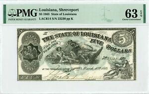 "1863 Cr.14 $5 State of LOUISIANA ""South Strikes Down Union"" Note - PMG 63 EPQ"