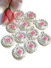 10 Pc NA Pink Enamel & Crystal Pendant Charms Silver Tone - Narcotics Anonymous
