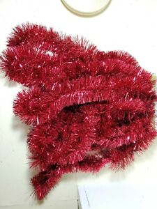 New 18 Ft Winter Wonder Land RED Christmas Tree Tinsel Garland Wide Shiny