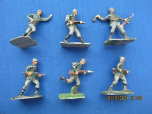 """S.A.E 30 MM LEAD FIGURES """"GERMAN INFANTRY IN ACTION"""" WW II SIX (6) PIECES"""