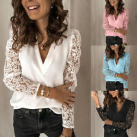 Summer Women Fashion Lace Tops V Neck Blouse Lady Casual Mesh Long Sleeve Shirts