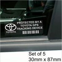 5 x Toyota GPS Tracking Device Security Stickers-Avensis Yaris-Car Alarm Tracker