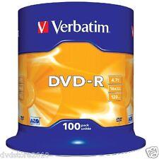 100 DVD-R VERBATIM AZO 16x 4.7gb Vergini Vuoti Silver Surface Cake DVD -R 43549