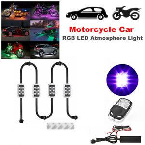 4PCS RGB Motorcycle Car LED Atmosphere Light Wireless Smart Brake Decorate Light