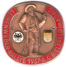 seltene Plakette Leinenweber-Rallye 1957 A.C. Bielefeld im ADAC Gr.78,60x80,25mm