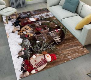 Christmas Snowman Santa Area Rugs-Premium Rectangle Rug