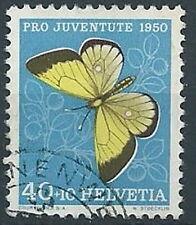 1950 SVIZZERA USATO PRO JUVENTUTE FARFALLA 40+10 CENT - RR13850