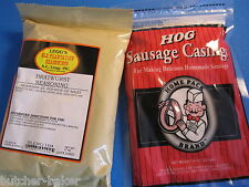 COMBO***  Bratwurst Sausage Seasoning Spices for 25 LBs AND Natural Hog Casings