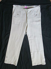 WOMEN'S BCBGirls BCBG LINEN CASUAL/DRESS PANTS BEIGE/KHAKI & BLUE STRIPE SIZE 10
