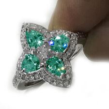 Wedding 925 Sterling Silver Ring 3.54Ct vvs1;Blue Pear Real Moissanite Diamond