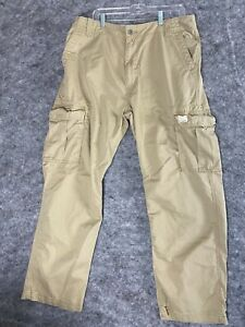 Levi Strauss Cargo Pants Mens Size 36 x 34 Tan Brown Loose Fit Straight Cotton
