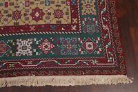 Vegetable Dye Moss Green All-Over Sumaak Turkish Hand-Woven 9'x12' Wool Area Rug