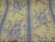 20.8 Metres Cream/Blue Striped Baroque Printed Cotton Curtain Fabric