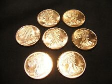 Lot of 7 Copper Rounds - One Ounce .999 - Walking Liberty