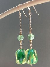 Vintage Green Nugget Uranium Lustre Glass 14ct Rolled Gold Drop Earrings