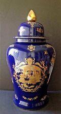 VTG Fine Porcelain 25'' Tall Lidded Urn Vase Victorian Couple Cobalt Blue & Gold