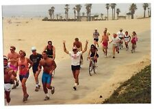 Vintage 80s PHOTO Group Guys Runners Gals On Bikes At Beach Beer Run Event