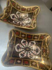 Royal Crown Derby 2nd Quality Old Imari Solid Gold Band 1919 Basket