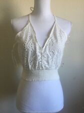 LF crochet floral tie back v neck coachella cotton crop tank top NWT sz M