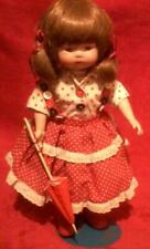 """Marian Yu Design Doll Country Girl Red White Dress With Umbrella 14"""""""