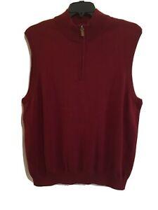 Roundtree & Yorke Men's 1/4 Zip Sweater Vest Sz XL Dark Red NWT