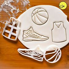 Set of 3 Basketball themed cookie cutters | jersey sports shoes biscuit cutter