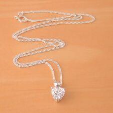 "925 Cz Love Heart Pendant & 18"" Silver Chain/Cz Heart Necklace/April Birthstone"