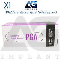 4-0 PGA Sterile Surgical Sutures Absorbable Violet Braided Medical Dental 12pcs