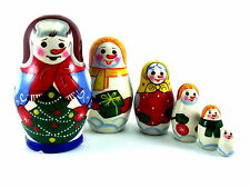 Christmas Nesting Dolls Russian Matryoshka Babushka Stacking Wooden Toys 6 pcs