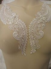 "10""  Mirror Image Pair White Embroidered Organza Beaded Appliques"