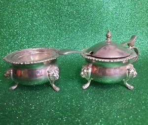 English Silver Plate Cruet  Salt Pot With Lidded Mustard Pot
