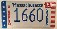 Massachusetts DISABLED VETERAN license plate Military Vet Vietnam War WW2 USN DV