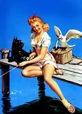"Vintage GIL ELVGREN Pinup Girl XL CANVAS PRINT Poster Fishing Jetty- 24""X 36"""